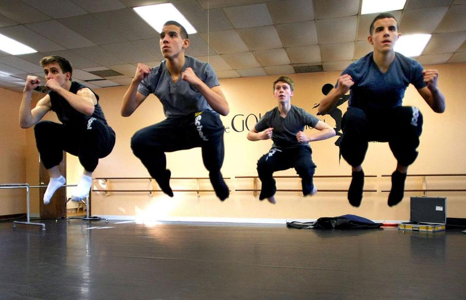 "At the Gold School, dancers (left to right) Kyle Scanlan, David Guzman, Matthew Gilmore and Jacob Guzman, rehearsed for their performance on ""Dancing With the Stars."""